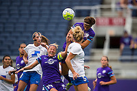 Orlando, FL - Sunday July 10, 2016: Becky Edwards, Kassey Kallman during a regular season National Women's Soccer League (NWSL) match between the Orlando Pride and the Boston Breakers at Camping World Stadium.