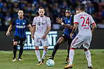 FC Internazionale Midfielder Geoffrey Kondogbia (C) fights for the ball with Bayern Munich Midfielder Corentin Tolisso (R) during the International Champions Cup match between FC Bayern and FC Internazionale at National Stadium on July 27, 2017 in Singapore. Photo by Marcio Rodrigo Machado / Power Sport Images