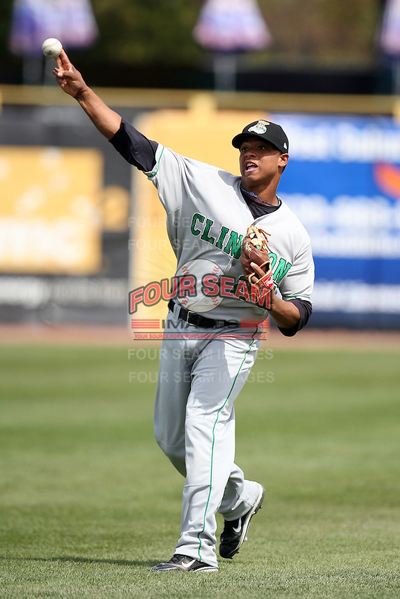Ramon Morla (24) of the Clinton LumberKings during a game against the Kane County Cougars at Elfstrom Stadium in Geneva, Illinois;  April 23, 2011. Photo By Chris Proctor/Four Seam Images.