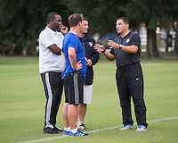 Orlando, FL - Friday Oct. 14, 2016:   Coaching instructor Santo Rivas speaks to candidates during a US Soccer Coaching Clinic in Orlando, Florida.