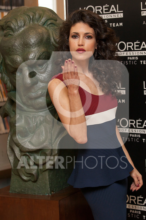 Spanish actress Nerea Barros pose for photographers during a presentation for a sponsor of the Goya Awards with hairdressers and Makeup artist at Academia de Cinema in Madrid January 14, 2015, Spain. (ALTERPHOTOS / Nacho Lopez)