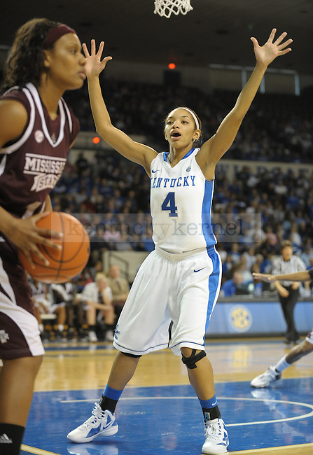 Kentucky's Keyla Snowden (4) defends the inbound during the first half of the University of Kentucky Women's basketball game against Mississippi State at Memorial Coliseum in Lexington, Ky., on 1/8/12. Uk led the game at half 50-21. Photo by Mike Weaver | Staff