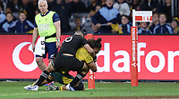 Lukhan Salakaia-Loto of the Wallabies goes over for try during the Rugby Championship match between Australia and New Zealand at Optus Stadium in Perth, Australia on August 10, 2019 . Photo: Gary Day / Frozen In Motion