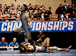 LA CROSSE, WI - MARCH 11: Nathan Pike of NYU celebrates after beating Jay Albis of Johnson & Wales in the 133 weight class during NCAA Division III Men's Wrestling Championship held at the La Crosse Center on March 11, 2017 in La Crosse, Wisconsin. Pike beat Albis with a fall to win the National Championship. (Photo by Carlos Gonzalez/NCAA Photos via Getty Images)