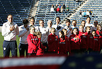 27 November 2010: U.S. starters during the playing of the national anthem. The United States Women's National Team defeated the Italy Women's National Team 1-0 in the second leg of their 2011 FIFA Women's World Cup Qualifier playoff at Toyota Park in Bridgeview, Illinois. The U.S. won the series 2-0 on aggregate goals to advance.