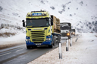Pictured: A lorry drives in the snow at Libanus, in Brecon, Wales, UK. Friday 01 February 2019<br /> Re: Heavy snow and freezing temperatures affecting parts of the UK.
