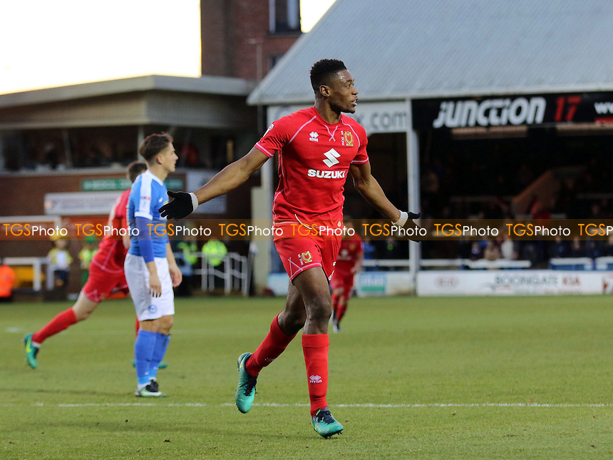 Chuks Aneke celebrates scoring MK Dons third goal during Peterborough United vs MK Dons, Sky Bet EFL League 1 Football at London Road on 28th January 2017