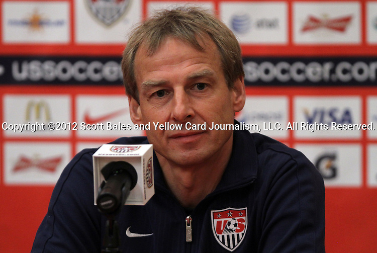 10 September 2012: Head Coach Jurgen Klinsmann. The United States Men's National Team held a press conference at the Renaissance Hotel in Columbus, Ohio one day before playing Jamaica in a CONCACAF Third Round World Cup Qualifying match for the FIFA 2014 Brazil World Cup.