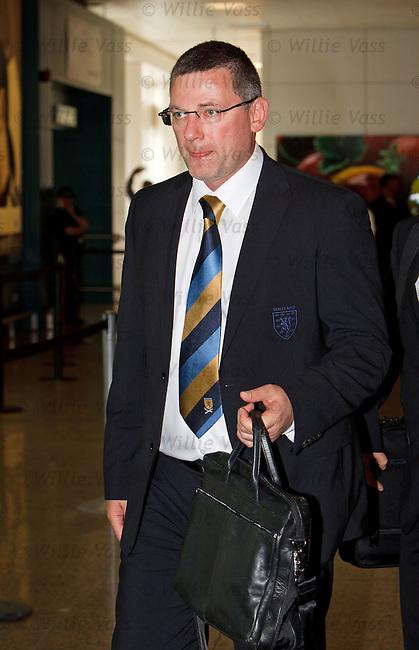 Craig Levein at Glasgow airport