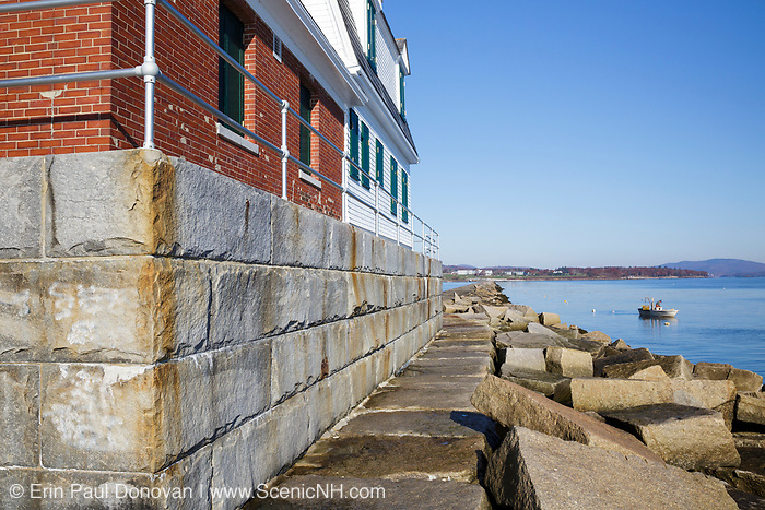 The Rockland Breakwater in Rockland, Maine USA from the Rockland Breakwater Lighthouse, which is located at the end of the breakwater. Completed in 1900 this breakwater is just under a mile long and consists of roughly 700,000 tons of granite.