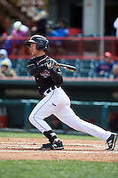 Erie Seawolves catcher Austin Green (3) at bat during a game against the Richmond Flying Squirrels on May 20, 2015 at Jerry Uht Park in Erie, Pennsylvania.  Erie defeated Richmond 5-2.  (Mike Janes/Four Seam Images)