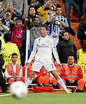 Real Madrid's Portuguese forward Cristiano Ronaldo takes the thumb up during the round of 16 second leg UEFA Champions League football match Real Madrid CF vs FC Shalke 04 at the Santiago Bernabeu stadium in Madrid on March 10, 2015.  PHOTOCALL3000