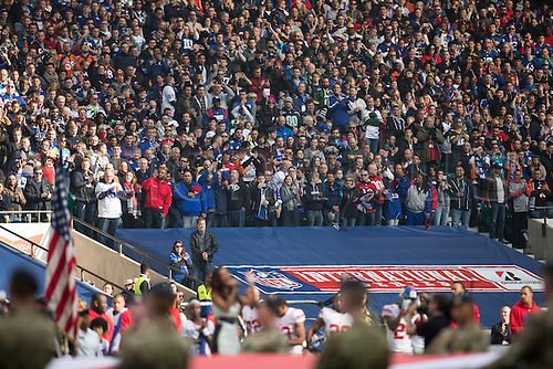 23.10.2016. Twickenham, London, England. NFL International Series. New York Giants versus LA Rams. Fans stand for the anthems.