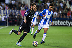 Sergio Ramos of Real Madrid competes for the ball with Luciano Neves of Club Deportivo Leganes during the match of  La Liga between Club Deportivo Leganes and Real Madrid at Butarque Stadium  in Leganes, Spain. April 05, 2017. (ALTERPHOTOS / Rodrigo Jimenez)