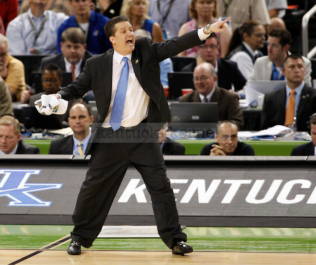 UK head coach John Calipari yells at his team during the second half of the UK vs. Louisville National Semi-finals at the Super Dome in New Orleans, Louisiana  March 31, 2012.. Photo by Brandon Goodwin | Staff