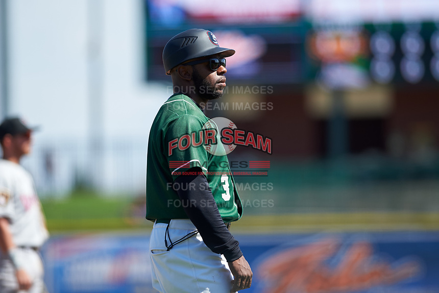 Great Lakes Loons coach Jason Bourgeois (3) during a Midwest League game against the Wisconsin Timber Rattlers at Dow Diamond on May 4, 2019 in Midland, Michigan. Great Lakes defeated Wisconsin 5-1. (Zachary Lucy/Four Seam Images)