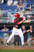 Batavia Muckdogs second baseman Sutton Whiting (49) at bat during a game against the Staten Island Yankees on August 27, 2016 at Dwyer Stadium in Batavia, New York.  Staten Island defeated Batavia 13-10 in eleven innings. (Mike Janes/Four Seam Images)