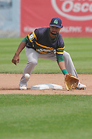 Beloit Snappers second baseman Jesus Lopez (7) fields the ball during the game against the Clinton LumberKings at Ashford University Field on June 12, 2016 in Clinton, Iowa.  The LumberKings won 1-0.  (Dennis Hubbard/Four Seam Images)