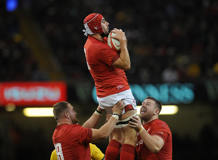 Wales' Cory Hill collects the high ball<br /> <br /> Photographer Ian Cook/CameraSport<br /> <br /> Under Armour Series Autumn Internationals - Wales v Australia - Saturday 10th November 2018 - Principality Stadium - Cardiff<br /> <br /> World Copyright © 2018 CameraSport. All rights reserved. 43 Linden Ave. Countesthorpe. Leicester. England. LE8 5PG - Tel: +44 (0) 116 277 4147 - admin@camerasport.com - www.camerasport.com