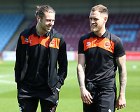 Blackpool's Harry Pritchard (right) & Antony Evans are all smiles before<br /> <br /> Photographer David Shipman/CameraSport<br /> <br /> The EFL Sky Bet League One - Scunthorpe United v Blackpool - Friday 19th April 2019 - Glanford Park - Scunthorpe<br /> <br /> World Copyright © 2019 CameraSport. All rights reserved. 43 Linden Ave. Countesthorpe. Leicester. England. LE8 5PG - Tel: +44 (0) 116 277 4147 - admin@camerasport.com - www.camerasport.com