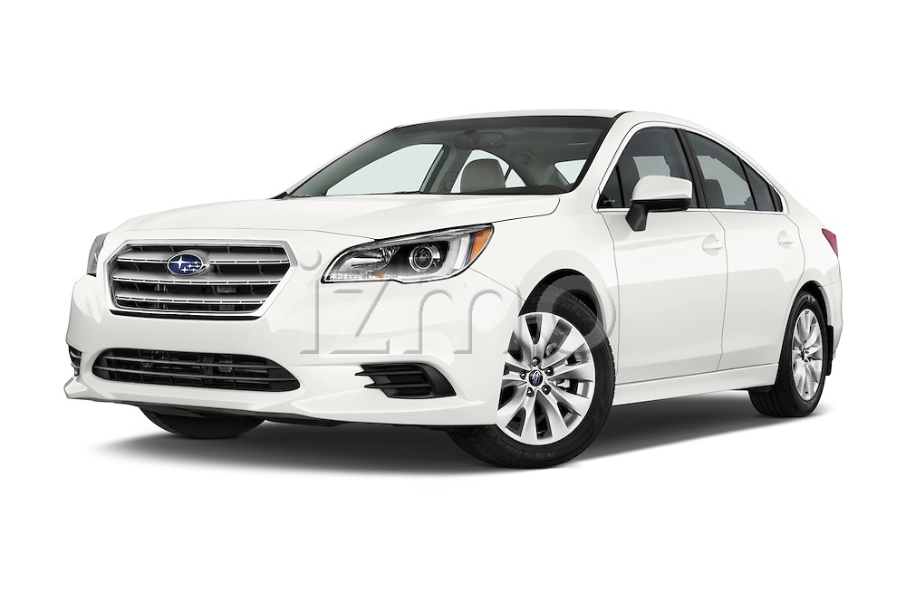 Stock pictures of low aggressive front three quarter view of a 2015 Subaru Legacy 2.5I Premium 4 Door Sedan 2WD Low Aggressive