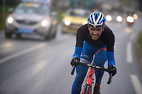 Neo-pro Simone Antonini (ITA/Wanty-Groupe Gobert) tries hard to get back into a group ahead. A hard job to do solo with winds up to 80km/h blowing in your face...<br /> <br /> 77th Gent-Wevelgem 2015