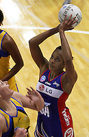 Mystics goal attack Pamela Cookey during the ANZ Netball Championship match between the Central Pulse and Northern Mystics, TSB Bank Arena, Wellington, New Zealand on Monday, 4 May 2009. Photo: Dave Lintott / lintottphoto.co.nz