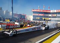 Nov 11, 2016; Pomona, CA, USA; NHRA top fuel driver Richie Crampton during qualifying for the Auto Club Finals at Auto Club Raceway at Pomona. Mandatory Credit: Mark J. Rebilas-USA TODAY Sports