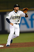 Second baseman Blake Tiberi (3) of the Columbia Fireflies plays defense in a game against the Augusta GreenJackets on Saturday, April 7, 2018, at Spirit Communications Park in Columbia, South Carolina. Augusta won, 6-2. (Tom Priddy/Four Seam Images)