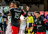 WASHINGTON, DC - MARCH 07: Steven Birnbaum #15 of DC United pushes into Juan Agudelo #12 of Inter Miami during a game between Inter Miami CF and D.C. United at Audi Field on March 07, 2020 in Washington, DC.