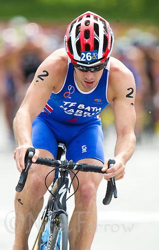 24 JUN 2012 - KITZBUEHEL, AUT - Aaron Harris (GBR) of Great Britain on the bike during the elite men's 2012 World Triathlon Series round in Schwarzsee, Kitzbuehel, Austria .(PHOTO (C) 2012 NIGEL FARROW)
