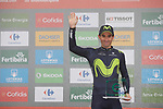 Daniel Moreno Fernandez (ESP) Movistar Team wins the day's combativity award on the podium at the end of Stage 17 of the 2017 La Vuelta, running 180.5km from Villadiego to Los Machucos. Monumento Vaca Pasiega, Spain. 6th September 2017.<br /> Picture: Unipublic/&copy;photogomezsport | Cyclefile<br /> <br /> <br /> All photos usage must carry mandatory copyright credit (&copy; Cyclefile | Unipublic/&copy;photogomezsport)