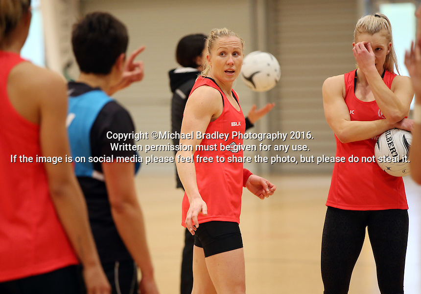24.08.2016 Silver Ferns Laura Langman in action during the Silver Ferns Training in Auckland. Mandatory Photo Credit ©Michael Bradley.