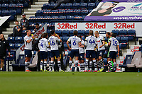 11th July 2020; Deepdale Stadium, Preston, Lancashire, England; English Championship Football, Preston North End versus Nottingham Forest; Players and match officials take the mandatory drinks break midway through the first half