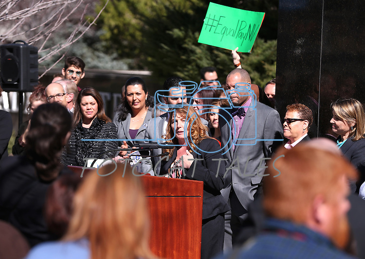 Nevada Assembly Minority Leader Marilyn Kirkpatrick, D-North Las Vegas, speaks at a press conference on the steps of the Legislative Building in Carson City, Nev., on Monday, Feb. 23, 2015. <br /> Photo by Cathleen Allison