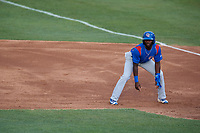 South Bend Cubs second baseman Delvin Zinn (20) leads off first base during a game against the Kane County Cougars on July 21, 2018 at Northwestern Medicine Field in Geneva, Illinois.  South Bend defeated Kane County 4-2.  (Mike Janes/Four Seam Images)