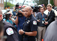 Charlottesville Chief Al S. Thomas Jr.refrains from answering questions from the media after the arraignment of James Alex Fields Jr., 20, of Maumee, Ohio Monday in Charlottesville, Va. Fields Jr. was charged with one count of second-degree murder, three counts of malicious wounding and one count of hit and run with injury after plowing through a crowd of counter protestors on Saturday. Photo/Andrew Shurtleff