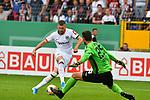 11.08.2019, Carl-Benz-Stadion, Mannheim, GER, DFB Pokal, 1. Runde, SV Waldhof Mannheim vs. Eintracht Frankfurt, <br /> <br /> DFL REGULATIONS PROHIBIT ANY USE OF PHOTOGRAPHS AS IMAGE SEQUENCES AND/OR QUASI-VIDEO.<br /> <br /> im Bild: Ante Rebic (Eintracht Frankfurt #4) umkurvt Markus Scholz (SV Waldhof Mannheim #25) und Marcel Seegert (SV Waldhof Mannheim #5) und trifft das Tor zum 3:5<br /> <br /> Foto © nordphoto / Fabisch
