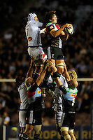 Charlie Matthews of Harlequins secures the ineout ball against William Whetton of Castres Olympique during the European Rugby Champions Cup  Round 1 match between Harlequins and Castres Olympique at the Twickenham Stoop on Friday 17th October 2014 (Photo by Rob Munro)