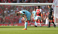 Dejection for Burnley's Johann Gudmundsson<br /> <br /> Photographer Rob Newell/CameraSport<br /> <br /> The Premier League - Arsenal v Burnley - Sunday 6th May 2018 - The Emirates - London<br /> <br /> World Copyright &copy; 2018 CameraSport. All rights reserved. 43 Linden Ave. Countesthorpe. Leicester. England. LE8 5PG - Tel: +44 (0) 116 277 4147 - admin@camerasport.com - www.camerasport.com