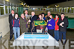 PRESENTATION: John O'Donoghue, owner/trainer of Brogan Stranger winner of the Tullymurry Act\Slip The Lark Kingdom Derby Final being presented the winning trophy by Tom Morrisroe at  the Kingdom Greyhound Stadium on Friday 20th of December l-r: Kieran Casey (track manager), Sheena Murphy, John O'Donoghue, Declan Dowling (sales and operational manager KGS), Tom Morrisroe, Margurite O'Donoghue, Bridget Murphy, Jerry Murphy, Breda Delaney, Mary Delaney and Pat Buckley.