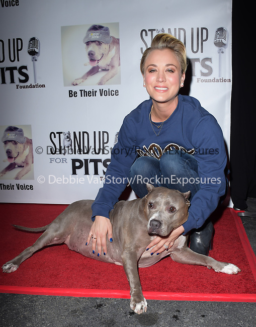 Kaley Cuoco-Sweeting and Angel attends The 4th Annual Stand Up for Pits event at the Hollywood Improv in West Hollywood, California on November 02,2014                                                                               © 2014 Hollywood Press Agency