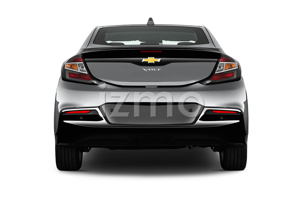Straight rear view of 2016 Chevrolet Volt Premier 5 Door Hatchback Rear View  stock images