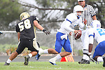 Palos Verdes, CA 09/16/11 - Joey Augello (Peninsula #58) and Lukas O'Connor (Culver City #3) in action during the Culver City-Peninsula varsity football game.