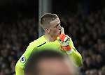 Jordan Pickford of Everton tells the Newcastle fans to be quiet during the premier league match at Goodison Park Stadium, Liverpool. Picture date 23rd April 2018. Picture credit should read: Simon Bellis/Sportimage