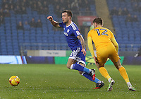 Joe Ralls of Cardiff City gets past Paul Gallagher of Preston North End during the Sky Bet Championship match between Cardiff City and Preston North End at Cardiff City Stadium, Wales, UK. Tuesday 31 January 2017