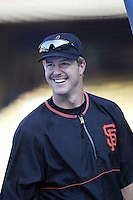 Jeff Kent of the San Francisco Giants before a 2002 MLB season game against the Los Angeles Dodgers at Dodger Stadium, in Los Angeles, California. (Larry Goren/Four Seam Images)