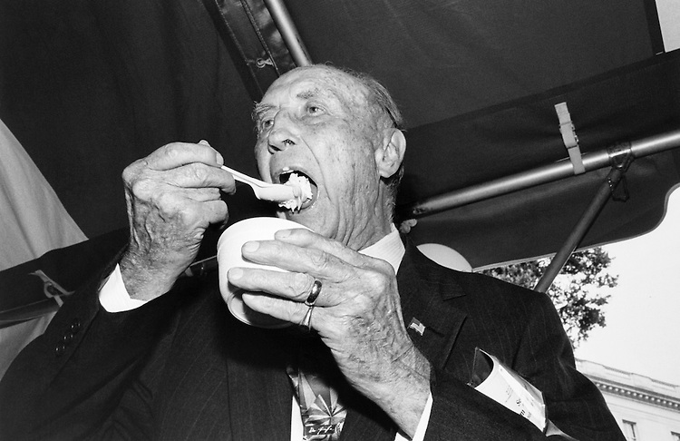 Sen. James Strom Thurmond, R-S.C., eating ice cream. June 26, 1995 (Photo by Gigi Goshko/CQ Roll Call)