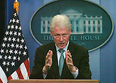 Former United States President William Clinton answers reporter's questions in the White House Press Room in Washington, DC Friday 10 December 2010. Clinton endorsed the tax compromise US President Barack Obama made with Republican congressional leaders..Credit: Bill Auth / Pool via CNP