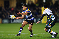 Ben Tapuai of Bath Rugby passes the ball. Aviva Premiership match, between Bath Rugby and Northampton Saints on February 10, 2017 at the Recreation Ground in Bath, England. Photo by: Patrick Khachfe / Onside Images